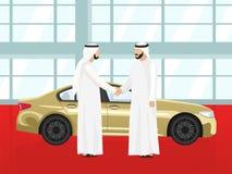 Επιτυχής αγορά ενός χρυσού αυτοκινήτου από ένα αραβικό άτομο διανυσματική απεικόνιση