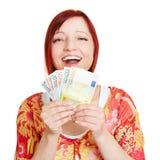 Επιτυχής γυναίκα με τα ευρο- χρήματα στοκ φωτογραφία με δικαίωμα ελεύθερης χρήσης