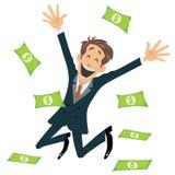 Επιτυχής επιχειρηματίας που χαμογελά και που πηδά με τη μύγα χρημάτων μακριά Στοκ Εικόνες