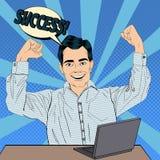 Επιτυχής επιχειρηματίας στην εργασία με το lap-top ελεύθερη απεικόνιση δικαιώματος