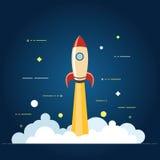 Επιτυχής επιχειρησιακή έννοια ξεκινήματος Διανυσματική απεικόνιση με την έναρξη πυραύλων και lap-top στο υπόβαθρο Στοκ εικόνα με δικαίωμα ελεύθερης χρήσης