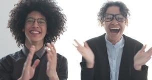Επιτυχής επιχειρησιακή ομάδα που χτυπά τα χέρια απόθεμα βίντεο
