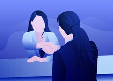 Επιτυχής επιχειρησιακή συνέντευξη του womankind διανυσματική απεικόνιση