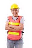 Επιτυχής και σκληρός ανώτερος εργάτης οικοδομών ή μηχανικός με Στοκ Εικόνα