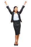 Επιτυχία εορτασμού επιχειρηματιών αφροαμερικάνων που απομονώνεται Στοκ Εικόνες