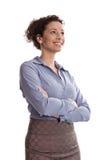 Επιτυχία:  ικανοποιημένη επιχειρησιακή γυναίκα που χαμογελά φορώντας την μπλε μπλούζα φ Στοκ φωτογραφίες με δικαίωμα ελεύθερης χρήσης