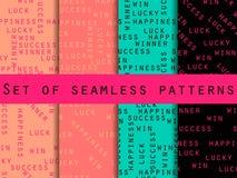 Επιτυχία και ευτυχία Σύνολο άνευ ραφής σχεδίου με τις λέξεις Για την ταπετσαρία, κλινοσκεπάσματα, κεραμίδια, υφάσματα, υπόβαθρα δ απεικόνιση αποθεμάτων
