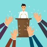 Επιτυχία στην επιχείρηση Άτομο που δίνει μια ομιλία στη σκηνή Ανθρώπινα χέρια γ διανυσματική απεικόνιση