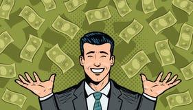 Επιτυχείς επιχειρηματίας και δολάρια Πλούτος, νίκη, επιτυχία ή έννοια αποδοχών Κινούμενα σχέδια στο λαϊκό αναδρομικό κωμικό ύφος  ελεύθερη απεικόνιση δικαιώματος