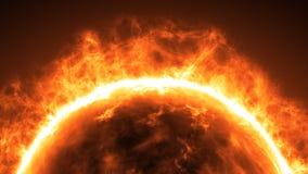 Επιφάνεια ήλιων με τις ηλιακές εκλάμψεις αφηρημένη ανασκόπηση επιστ&e Στοκ Εικόνα