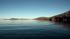 Επιφάνεια ακτών και νερού του αρκτικού ωκεανού στο νέο νησί γήινου Vaigach απόθεμα βίντεο