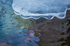 Επιφάνεια της παγωμένης λίμνης Λειώνοντας πάγος στον ποταμό ερχόμενη άνοιξη Στοκ εικόνα με δικαίωμα ελεύθερης χρήσης