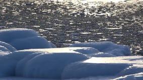 Επιφάνεια του χειμώνα Baikal, του νερού και του πάγου σε το απόθεμα βίντεο