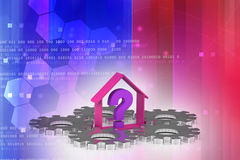 Επιχείρηση ακίνητων περιουσιών με το ερωτηματικό Στοκ εικόνα με δικαίωμα ελεύθερης χρήσης