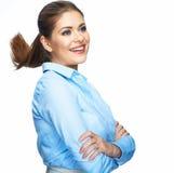 επιχείρηση ανασκόπησης ευτυχής που απομονώνει πέρα από τη χαμογελώντας λευκή γυναίκα Άσπρη ανασκόπηση Στοκ Εικόνες