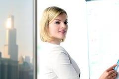 επιχείρηση ανασκόπησης που απομονώνεται πέρα από την παρουσίαση της χαμογελώντας λευκής γυναίκας Παρουσίαση για ένα υπόβαθρο Στοκ Εικόνα