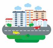 Επιχείρηση ζωής πόλεων στο επίπεδο ύφος σχεδίου Αρχιτεκτονική μιας μικρής πόλης επίσης corel σύρετε το διάνυσμα απεικόνισης Στοκ εικόνα με δικαίωμα ελεύθερης χρήσης