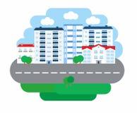Επιχείρηση ζωής πόλεων στο επίπεδο ύφος σχεδίου Αρχιτεκτονική μιας μικρής πόλης επίσης corel σύρετε το διάνυσμα απεικόνισης Στοκ φωτογραφία με δικαίωμα ελεύθερης χρήσης