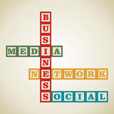 Επιχείρηση και κοινωνική λέξη απεικόνιση αποθεμάτων