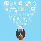Επιχείρηση και κοινωνικό διανυσματικό σχέδιο δικτύων Στοκ Εικόνες