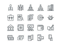 Επιχείρηση και χρηματοδότηση Σύνολο διανυσματικών εικονιδίων περιλήψεων Περιλαμβάνει όπως η ομαδική εργασία, η τράπεζα, η πληρωμή Στοκ φωτογραφία με δικαίωμα ελεύθερης χρήσης