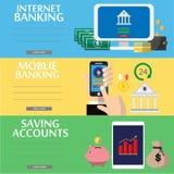 Επιχείρηση, κινητή πληρωμή, τραπεζικές εργασίες Διαδικτύου, επίπεδες έννοιες απεικόνισης λογαριασμών ταμιευτηρίου καθορισμένες Σύ Στοκ Φωτογραφία