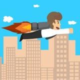 Επιχείρηση ξεκινήματος Επιχειρηματίας σε έναν πύραυλο απεικόνιση αποθεμάτων