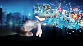 Επιχείρηση ο επιχειρηματίας που συνδέει τις συσκευές και αντιτίθεται μαζί τρισδιάστατος Στοκ εικόνες με δικαίωμα ελεύθερης χρήσης