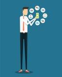 Επιχείρηση που λειτουργεί on-line στην κινητή εφαρμογή διανυσματική απεικόνιση