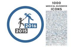 2016 επιχείρηση που εκπαιδεύει το στρογγυλευμένο εικονίδιο με 1000 εικονίδια επιδομάτων Στοκ Φωτογραφίες