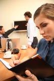 επιχείρηση που κάνει τη γυναίκα σημειώσεων στοκ φωτογραφίες