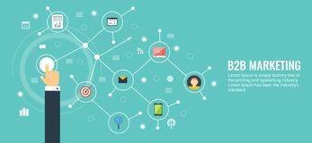 Επιχείρηση στην επιχείρηση, b2b, δικτύωση, επικοινωνία, έννοια μάρκετινγκ Επίπεδο σχέδιο που εμπορεύεται το διανυσματικό έμβλημα διανυσματική απεικόνιση