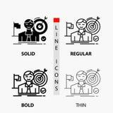 επιχείρηση, στόχος, χτύπημα, αγορά, εικονίδιο επιτυχίας στη λεπτά, κανονικά, τολμηρά γραμμή και το ύφος Glyph r διανυσματική απεικόνιση