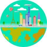 Επιχείρηση ταξιδιού με τα αεροσκάφη, τον πύργο του Άιφελ και το διάνυσμα ήλιων Στοκ φωτογραφίες με δικαίωμα ελεύθερης χρήσης