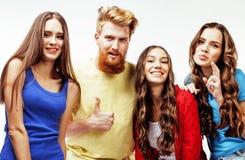 Επιχείρηση των τύπων hipster, γενειοφόροι κόκκινοι αγόρι τρίχας και σπουδαστές κοριτσιών που έχουν τους φίλους διασκέδασης μαζί,  Στοκ φωτογραφίες με δικαίωμα ελεύθερης χρήσης