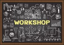 Επιχείρηση doodles στον πίνακα κιμωλίας με την έννοια εργαστηρίων Συρμένο χέρι επιχειρηματικό σχέδιο στον πίνακα κιμωλίας διανυσματική απεικόνιση