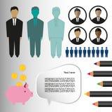 Επιχείρηση infographic με τα εικονίδια, τα πρόσωπα, τα μολύβια και το κιβώτιο χρημάτων, επίπεδο σχέδιο ελεύθερη απεικόνιση δικαιώματος