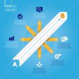 Επιχείρηση Infographic: Ύφος υπόδειξης ως προς το χρόνο, με τα αρχικά εικονίδια. Στοκ φωτογραφία με δικαίωμα ελεύθερης χρήσης