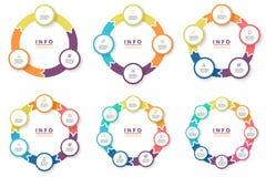Επιχείρηση Infographics Κυκλικά βέλη με 3 - 8 μέρη Στοκ Εικόνες