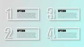 Επιχείρηση Infographics Υπόδειξη ως προς το χρόνο με 4 κιβώτια, βήματα, επιλογές αριθμού Διανυσματικός infographic εικονογράφος σ ελεύθερη απεικόνιση δικαιώματος