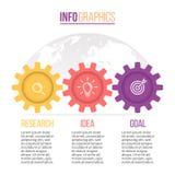 Επιχείρηση Infographics Υπόδειξη ως προς το χρόνο με 3 βήματα, εργαλεία, cogwheels Στοκ Εικόνα
