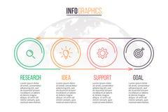 Επιχείρηση Infographics Υπόδειξη ως προς το χρόνο με 4 βήματα δρύινο διάνυσμα προτύπων κορδελλών φύλλων δαφνών συνόρων Στοκ φωτογραφία με δικαίωμα ελεύθερης χρήσης