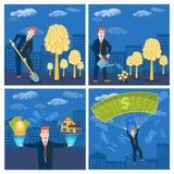 Επιχειρηματίας ή μεσίτης που ποτίζει το χρυσό απόγονο δέντρων Διάνυσμα mon Στοκ Εικόνες