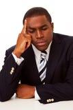 Επιχειρηματίας αφροαμερικάνων στη βαθιά σκέψη Στοκ Φωτογραφίες