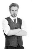 Επιχειρηματίας, γενειοφόρο άτομο ή σοβαρός κύριος στο γιλέκο και το τ Στοκ φωτογραφία με δικαίωμα ελεύθερης χρήσης