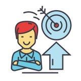 Επιχειρηματίας, επιχειρησιακή επιτυχία, στόχος στόχου, κέρδος, έννοια νίκης διανυσματική απεικόνιση