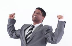 επιχειρηματίας ευτυχής & η ανασκόπηση απομόνωσε το λευκό Στοκ εικόνα με δικαίωμα ελεύθερης χρήσης