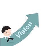 Επιχειρηματίας ευτυχής στο τρέξιμο στο πράσινο βέλος με το όραμα λέξης, δρόμος στην έννοια επιτυχίας, που παρουσιάζεται με μορφή Στοκ Εικόνες