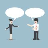 Επιχειρηματίας και γυναίκα που μιλούν με τις λεκτικές φυσαλίδες Στοκ εικόνα με δικαίωμα ελεύθερης χρήσης