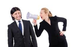 Επιχειρηματίας και επιχειρηματίας με megaphone Στοκ Εικόνες